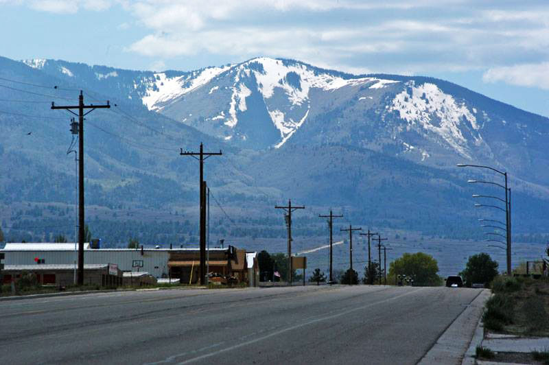 The town of Monticello, Utah with one of the day's big mountains in the background.