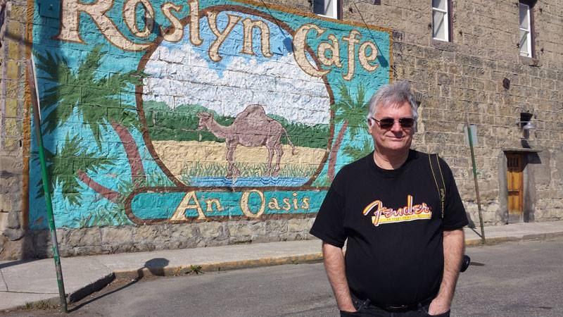 Denny in front of Roslyn Cafe in Roslyn Washington (Cicely Alaska).