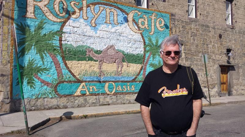 Denny in front of Roslyn Cafe in Roslyn Washington (Cicely Alaska).