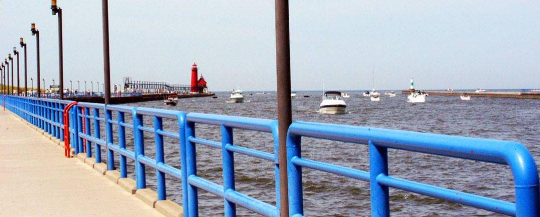 Grand Haven's channel to Lake Michigan