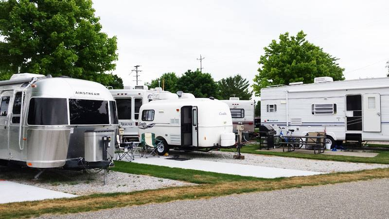 Our little Casita trailer packed in among all the bigger rigs!