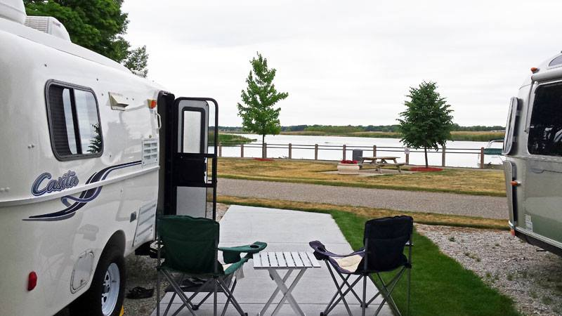 Things are squeezed in a bit at the campground, but our morning coffee view is great!