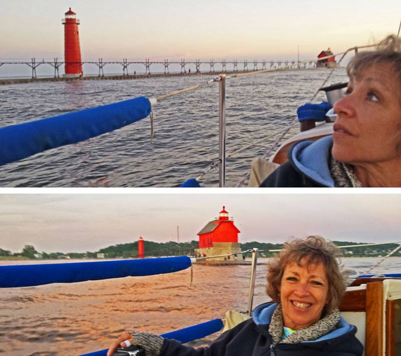 Fay enjoying a cruise past the pier and lighthouses, and out into Lake Michigan.