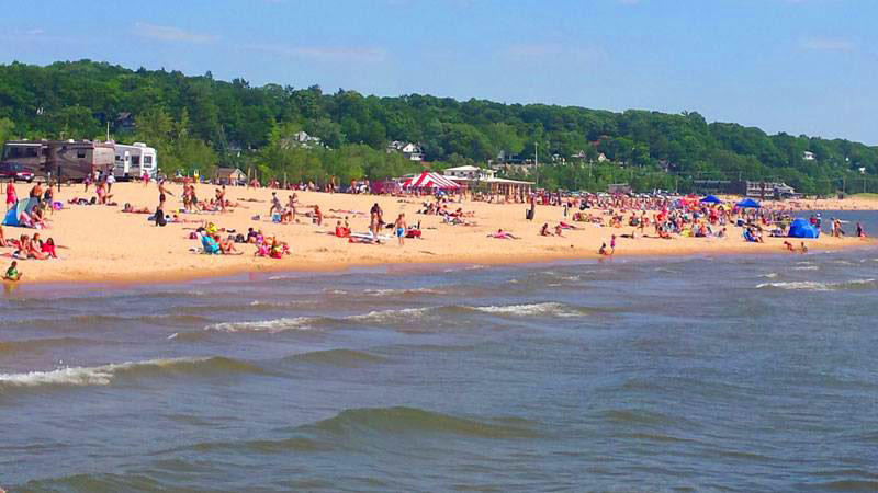 Grand Haven State Park on Lake Michigan.  Note the campers on the right.
