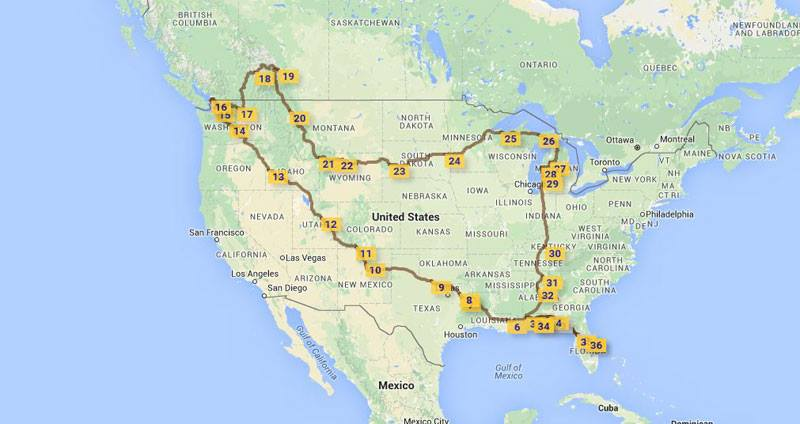 The route we took traveling cross country in our small travel trailer