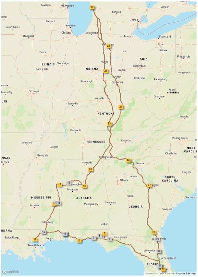 Route for our Summer 2019 trip