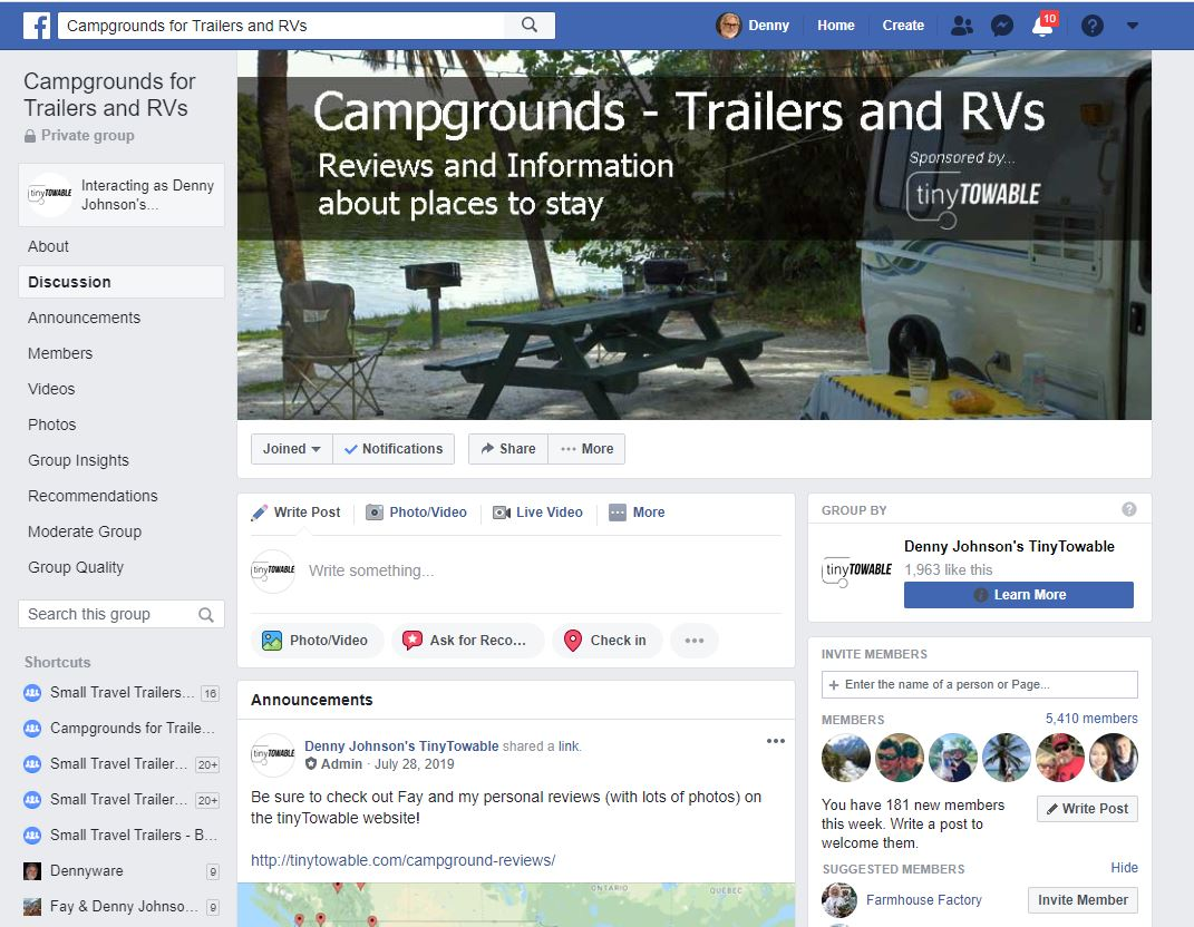 Facebook Campgrounds - Trailers and RVs