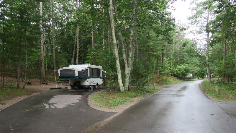 Setting up a small travel trailer - pull-through campsite