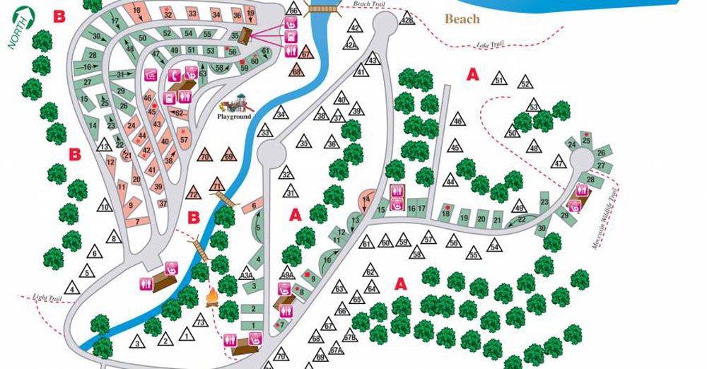 Campground map with both pull-through & back-in sites