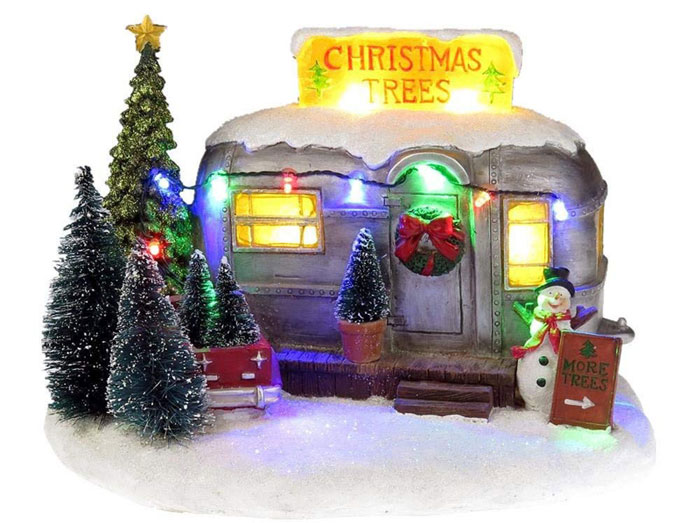 Christmas Village Small Travel Trailer display
