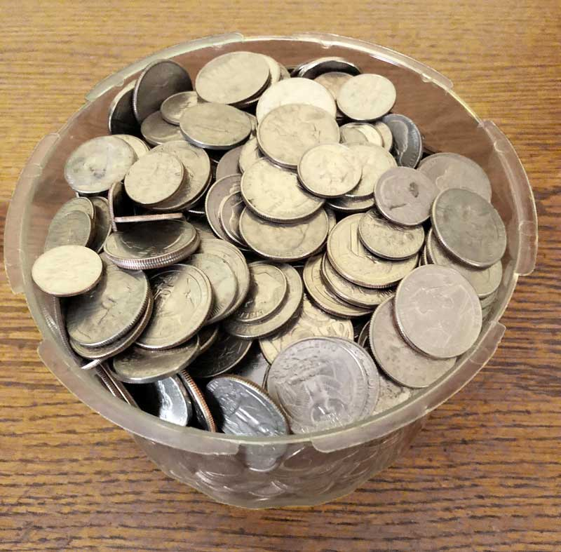Our leftover change bowl at home