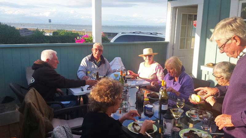 Dinner with Wayne, Barb and a few others here at their cottage.