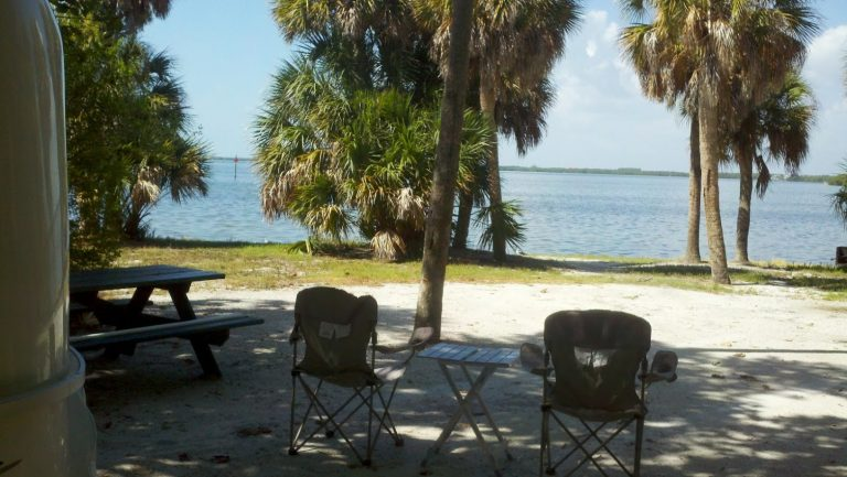 Waterfont campsite at Fort De Soto