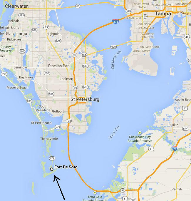 Map showing location of Fort De Soto