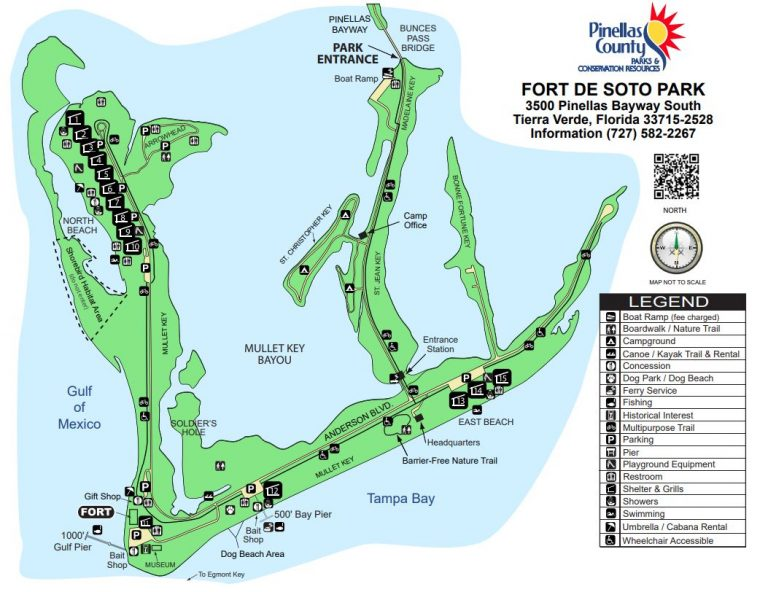 Map of Fort De Soto park