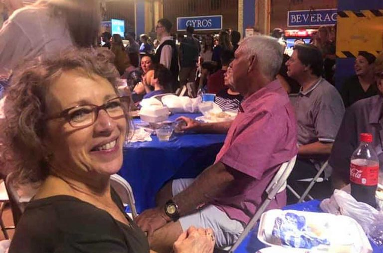 Fay having a great time seeing old friends at the Birmingham Greek Festival.