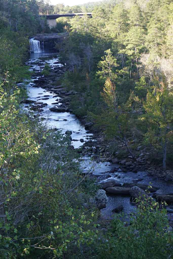A view of the falls in the distance from the rim of Little River Canyon in Alabama
