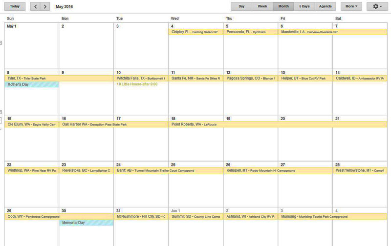 Planning trips with Google calendar